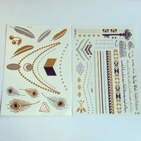 Metallic Jewelry Temporary Tattoos: Gold, Silver, Black (Pack of 2)
