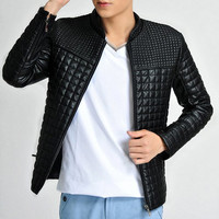 PU-Leather Stand Collar Long Sleeve Jacket