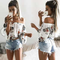 Sexy print off-shoulder T-shirt top