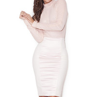 Clothing : Skirts : 'Raissa' Pink Satin and Stretch Jersey Midi Pencil Skirt