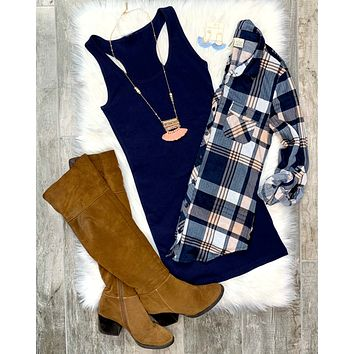 Penny Plaid Flannel Top: Peach