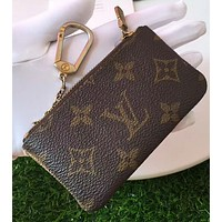 LV Louis Vuitton Popular Hot Print Fashion Zipper Key Pouch Clutch Bag Wristlet Zero Wallet I