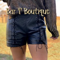 Laced Leather Shorts
