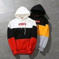 Supreme Hot Hooded Women Men Contrast Top Sweater Hoodies