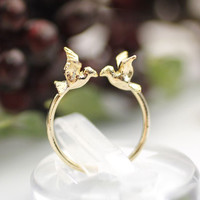 Tiny Twin Bird sparrow adjustable ring in 2 colors, R0131G
