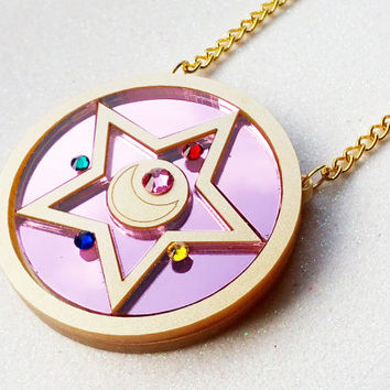 Crystal Star Compact Necklace: CRYSTAL STAR COMPACT Metallic Gold Laser Cut Acrylic Sailor Moon Necklace
