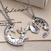 Steampunk Silver Tone Deer Necklace Crystal Pendant Jewelry Gift Chain Couple 2p = 1929666308
