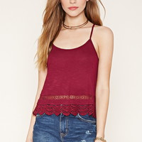 Crocheted Lace-Paneled Cami