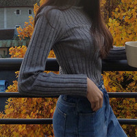 High collar Casual Knit Solid Color Top Sweater Pullover