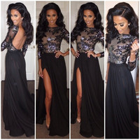 Sexy Women Long Lace Floral  Backless Formal Gown Cocktail Evening Prom Black Dress