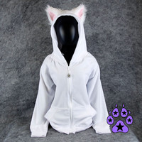 Pawstar Color Theme Fluffy Mew kitty hoodie YOU Pick Size fursuit cat Cosplay costume Anime Animal furry Kitty jacket coat gift apparel 6156