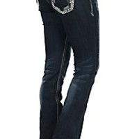 Grace in LA Women's Dark Wash with Embroidery & Rhinestones Flap Pocket Boot Cut Jean