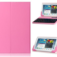 Universal 7-8 Faux Leather Flip Case with Built-in Bluetooth Keyboard for iPad Mini, Android Tablet PCs (Pink)