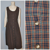 Vintage 1990's Plaid Button Front Jumper Dress Pinafore Green and Navy Blue Midi Dress Eddie Bauer Size Small Normcore Relaxed Fit