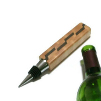 Upcycled Wine Stopper - Maple and Walnut - Wood Bottle Stopper  - READY TO SHIP