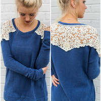 Brandy Creek Navy Blue Knit Sweater With Crochet Lace Shoulders