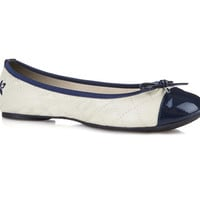 Butterfly Twists Quilted Olivia Cream Navy - Flats
