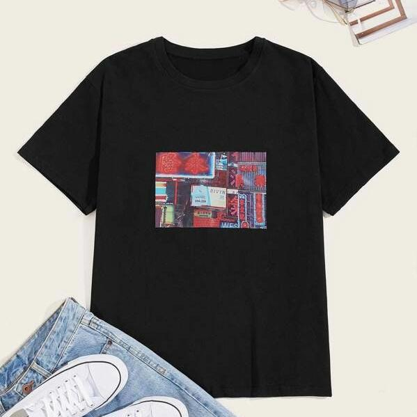 Image of Fashion Casual Men Guys Letter Graphic Tee