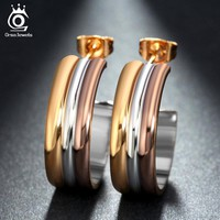ORSA JEWELS Silver Color&Gold-Color&Rose Gold Color Big Earrings Studs Fashion Stainless Steel Brincos Jewelry for Women GTE23