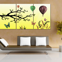 Huge XXXL Extra Large Abstract Triptych Tree Butterfly Hot Air Balloon Print on 3 Stretched Canvas Panels Collage 72x36 inches