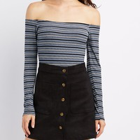 Striped Off-The-Shoulder Bodysuit