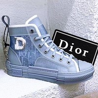 DIOR Dior B23 Oblique High Top Sneakers Lovers Shoes and boots jelly perspective Haze blue