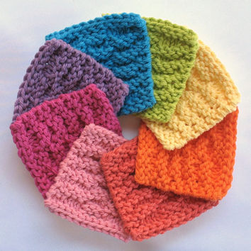 Face Scrubbies Facial Cotton Pad Wash Cloth Reusable Mini Knitted Washcloth Square Makeup Remover Pads Bright Neon Rainbow