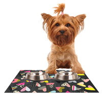 """Louise Machado """"Pieces of Heart"""" Pink Yellow Dog Place Mat"""