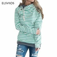 ELSVIOS 2017 Autumn Winter Women Hoodies Sweatshirts Casual Striped Zipper Long Sleeve Hooded Pullover Scarf Collar Tracksuits
