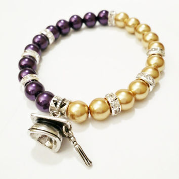 2015 graduation gift purple and gold high school graduation gift class of 2015 grad bracelet party favor