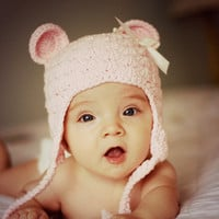 Bear Hat, Shabby Chic Hat, Baby Girl Winter Hat, Newborn Photo Prop, Girl Bear Hat - Light Pink with bow