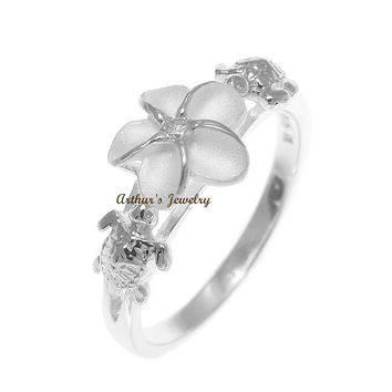 SILVER 925 HAWAIIAN PLUMERIA FLOWER TURTLE RING SIZE 3 - 13