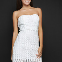 BACK BOW FLORAL LACY BELTED DRESS