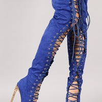 Privileged Cage Suede Lace Up Stiletto Thigh High Boot