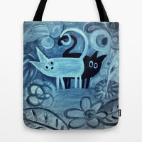 cats in blue  Tote Bag by Marianna Tankelevich