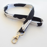 Cow Lanyard / Cowhide Inspired / Cow Keychain / Cow Hide / Animal Print / Key Lanyard / ID Badge Holder / Black & White / Cow Spots
