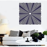 Vinyl Decal Wall Sticker Optical Illusoin Black White Striped Background Unique Gift (n665)