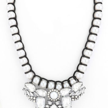 Seaside Pearl Statement Necklace in Silver