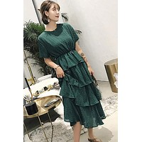 SuperAen Beach Vacation Style Vintage Cake Layer Short Sleeve O Neck Solid A-Line Dress for Women