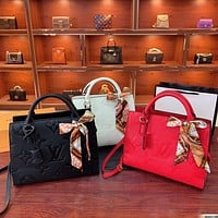 LV embossed letters women's solid color tote bag shopping bag