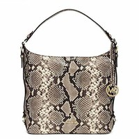 michael kors stylish waterproof large embossed leather shoulder bag