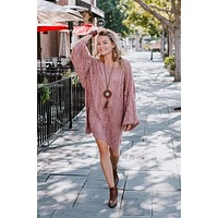 Golden Hour Bubble Sleeve Sweater - Mauve