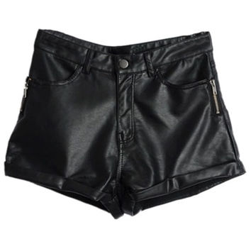 ROMWE   Rolled-cuffs Zippered Black Faux Leather Shorts, The Latest Street Fashion