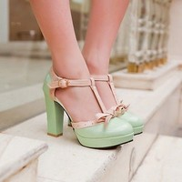 Womens Bowknot T Strap Block High Heel Platform Mary Janes Pumps Court Shoes NEW