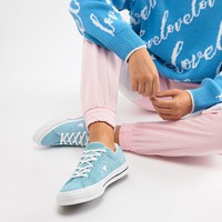 Converse One Star Suede Trainers In Blue at asos.com