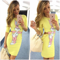 SIMPLE - Fashionable Women Slim One Piece Dress with Printed Rabbit a10009