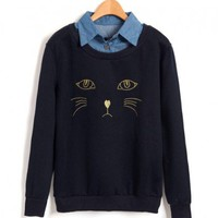 Embroidery Cat Sweatshirt with Point Collar