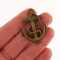 4 Large bronze anchor charms, bronze anchor, anchor charm, anchor charms, anchor pendant, anchor pendants, nautical charms, high quality