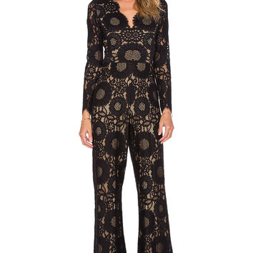Alexis Jensen Long Sleeve Scallop Jumpsuit in Black Lace