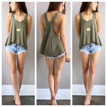 An Acid Wash Racerback Tank in Olive